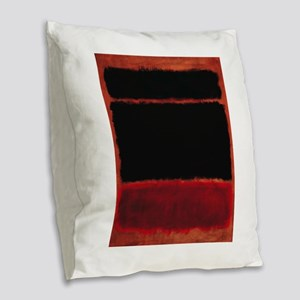 ROTHKO RED_BLACK Burlap Throw Pillow