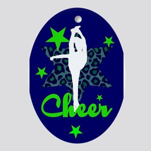 Blue and Green Cheerleader Ornament (Oval)