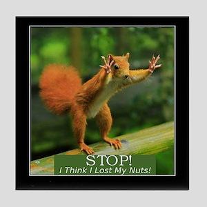 Squirrel Lost His Nuts Tile Coaster
