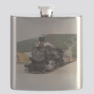 Steam train engine Silverton, Colorado, USA Flask