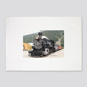 Steam train engine Silverton, Color 5'x7'Area Rug