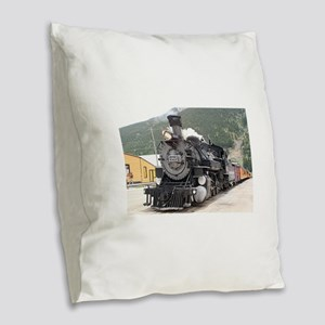 Steam train engine Silverton, Burlap Throw Pillow