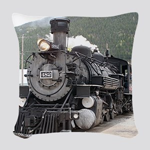 Steam train engine Silverton, Woven Throw Pillow