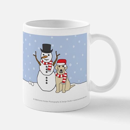 Yellow Labrador Retriever & Snowman Mug