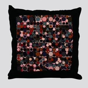 Black, Grey and Rust Retro Dots Throw Pillow