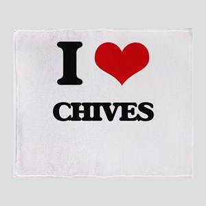 I love Chives Throw Blanket