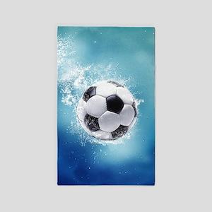 Soccer Water Splash Area Rug