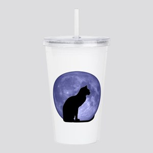Black Cat, Blue Moon Acrylic Double-wall Tumbler