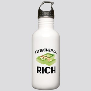 I'd Rather Be Rich Stainless Water Bottle 1.0L