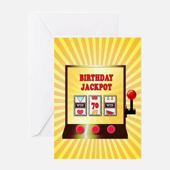 70th birthday, slot machine Greeting Cards