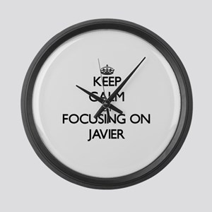 Keep Calm by focusing on on Javie Large Wall Clock