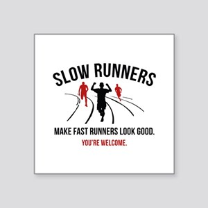 """Slow Runners Square Sticker 3"""" x 3"""""""