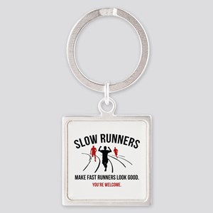 Slow Runners Square Keychain