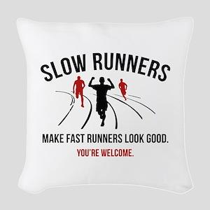 Slow Runners Woven Throw Pillow