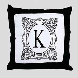 Name Initial Monogram Throw Pillow | Chic Decor