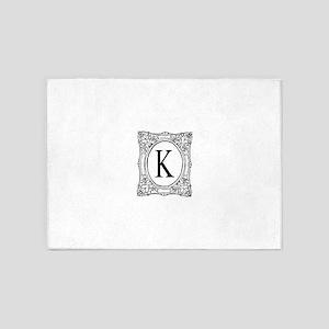 Name initial monogram 5'x7'Area Rug