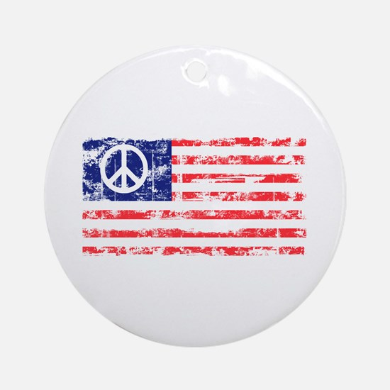 Vintage Peace In America Round Ornament
