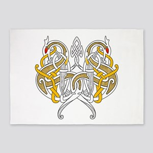 Celtic Dragons Intertwined 5'x7'Area Rug
