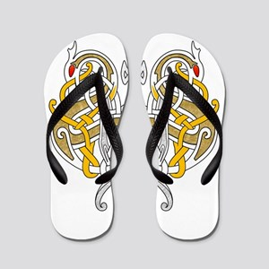 Celtic Dragons Intertwined Flip Flops