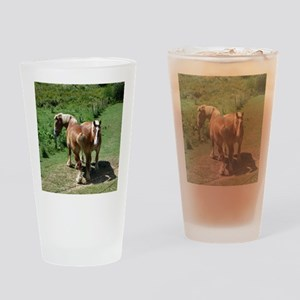 Two horses Drinking Glass