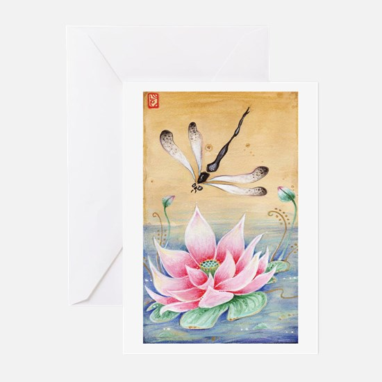 Lotus Dragonfly Art Greeting Cards