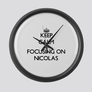 Keep Calm by focusing on on Nicol Large Wall Clock