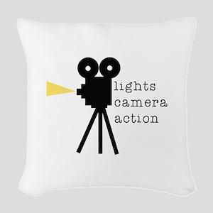 Camera Action Woven Throw Pillow