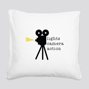 Camera Action Square Canvas Pillow