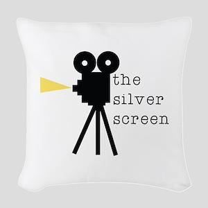 Silver Screen Woven Throw Pillow