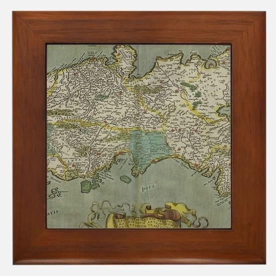 Vintage Map of The Kingdom of Naples ( Framed Tile