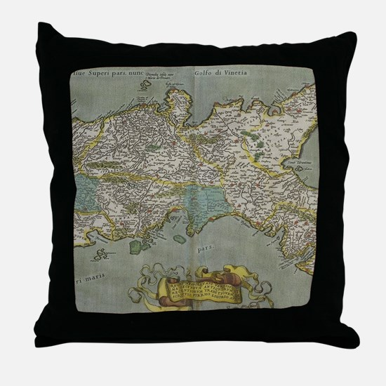 Vintage Map of The Kingdom of Naples Throw Pillow