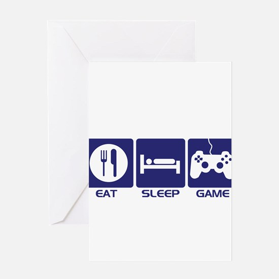 Eat Sleep Game Greeting Cards