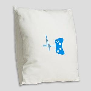 Gamer Heartbeat Burlap Throw Pillow