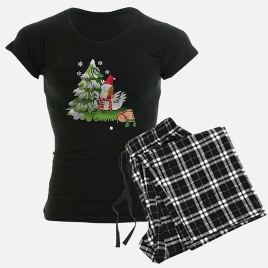 Funny Christmas Chicken and pajamas