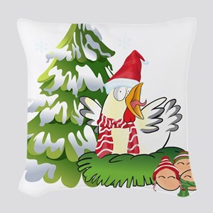 Funny Christmas Chicken and Eg Woven Throw Pillow