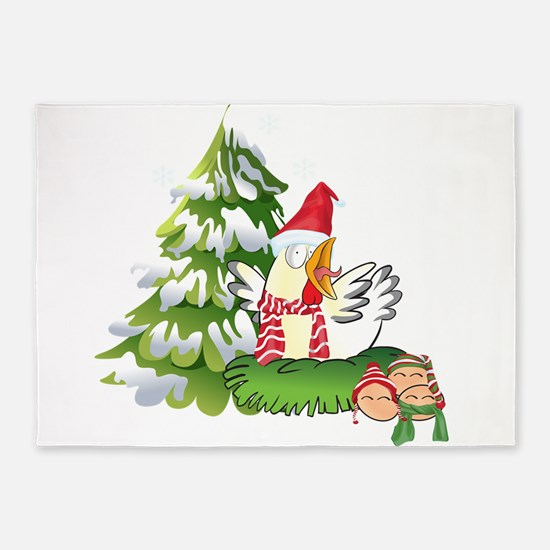 Funny Christmas Chicken and Eggs 5'x7'Area Rug