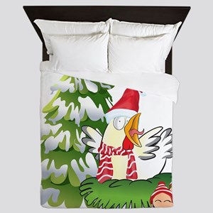 Funny Christmas Chicken and Eggs Queen Duvet