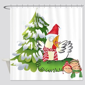 Funny Christmas Chicken and Eggs Shower Curtain