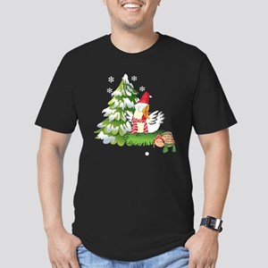 Funny Christmas Chicke Men's Fitted T-Shirt (dark)
