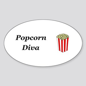 Popcorn Diva Sticker (Oval)