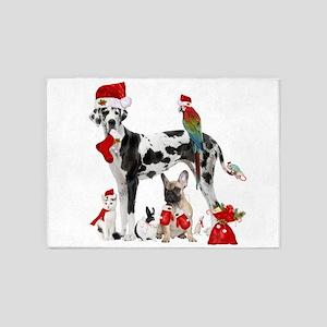 christmas pets in santa 5'x7'Area Rug