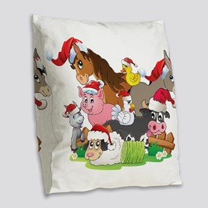 CUTE Farm Animal Christmas Burlap Throw Pillow