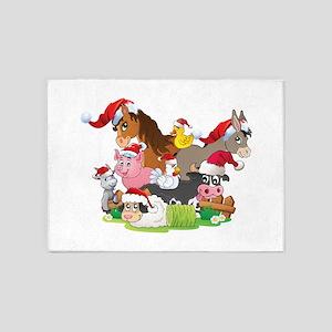 CUTE Farm Animal Christmas 5'x7'Area Rug