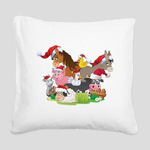 CUTE Farm Animal Christmas Square Canvas Pillow