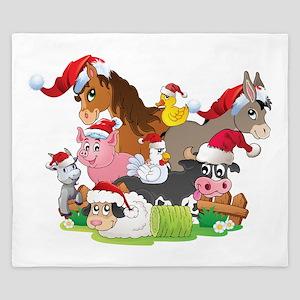 CUTE Farm Animal Christmas King Duvet