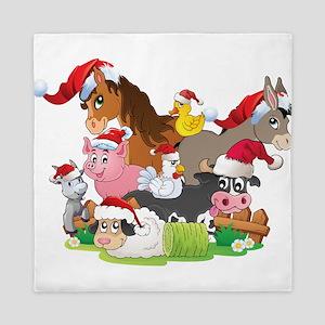 CUTE Farm Animal Christmas Queen Duvet