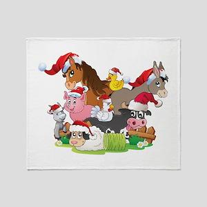 CUTE Farm Animal Christmas Throw Blanket