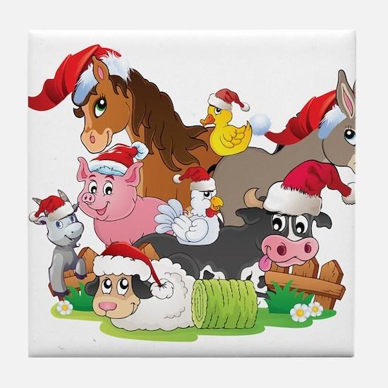 CUTE Farm Animal Christmas Tile Coaster