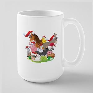 CUTE Farm Animal Christmas Large Mug