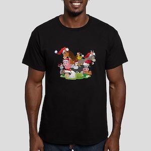 CUTE Farm Animal Chris Men's Fitted T-Shirt (dark)